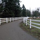 3 Rail White Vinyl Farm Fence